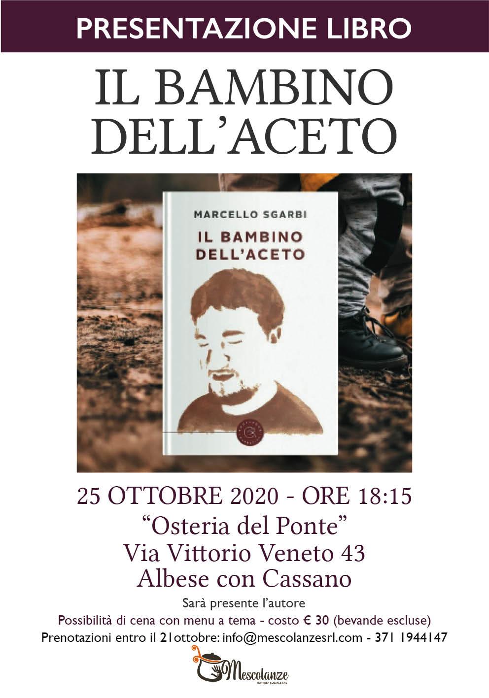 """25 ottobre 2020 – Presentazione libro """"Il bambino dell'aceto"""""""